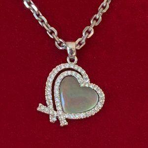 Silver T Rhinestone Abalone Double Heart Pendant